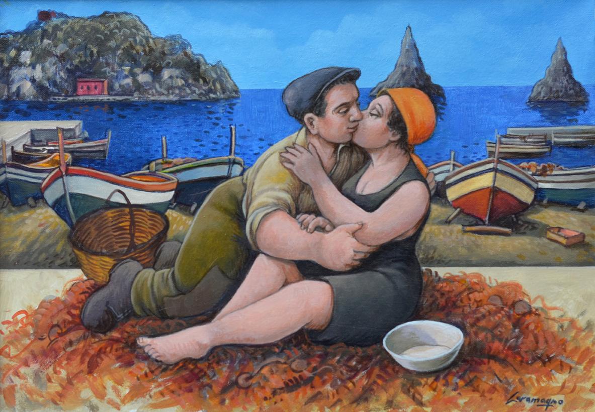 Innamorati in riva al mar cm. 35x50