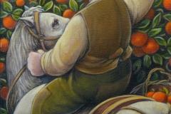 Cavaliere che raccoglie un' arancia cm. 30x40