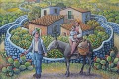 Famiglia con paesaggio cm. 30x40