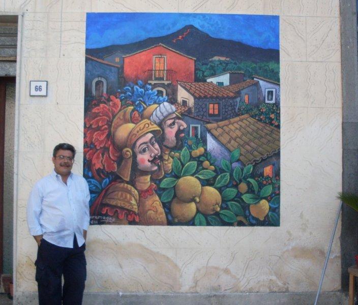 Murale- Paesaggio siciliano con pupi