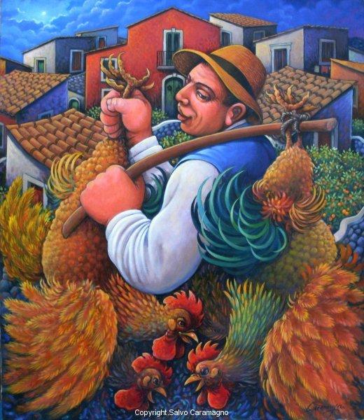 Portando polli al mercato cm 60 x 70